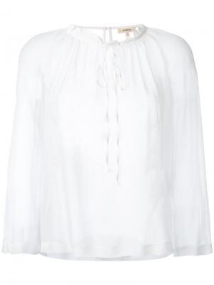 Прозрачная блузка с присборенной отделкой Bellerose. Цвет: белый