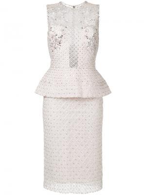 Платье с баской и блестящей отделкой Zuhair Murad. Цвет: телесный