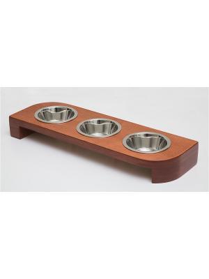 Подставка для кормления животных тройная (дерево) 3*480мл Doggy Style. Цвет: темно-красный