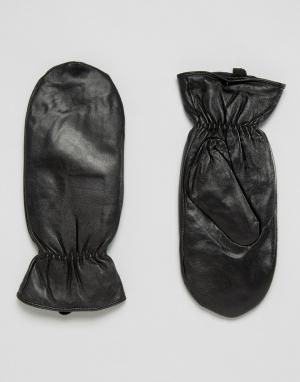 Pieces Кожаные варежки. Цвет: черный