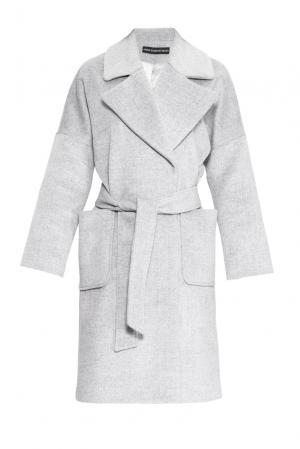 Пальто из шерсти с поясом 161174 Anna Dubovitskaya. Цвет: серый