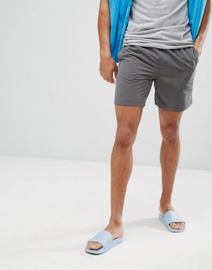 ASOS Темно-серые шорты для плавания с неоново-желтым шнурком. Цвет: серый