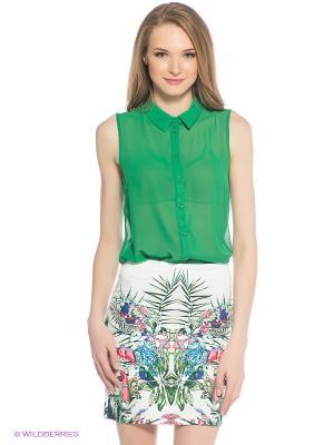 Блузка Oodji. Цвет: зеленый