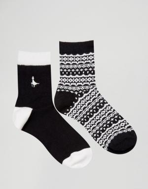 Jack Wills 2 пары носков Pullborough. Цвет: черный