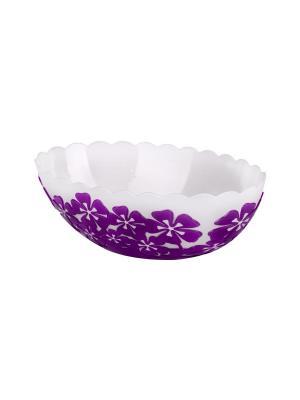 Салатник Камелия 1,3л. овальный (фиолет.) Альтернатива. Цвет: белый, фиолетовый