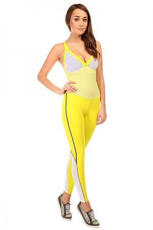 Комбинезон для фитнеса женский  New Zealand Overall Yellow/White CajuBrasil. Цвет: желтый,белый