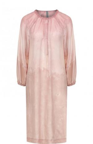 Шелковое платье свободного кроя с круглым вырезом Raquel Allegra. Цвет: розовый