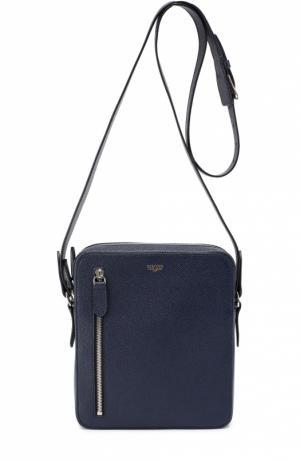 Сумка-планшет из зерненой кожи с внешним карманом на молнии Bertoni. Цвет: темно-синий