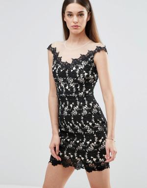 Sistaglam Кружевное платье с широким вырезом. Цвет: черный