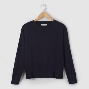 Пуловер со складками, 10-16 лет R essentiel. Цвет: синий морской