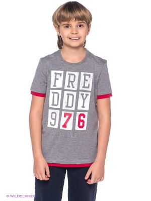 Футболка Freddy. Цвет: серый меланж