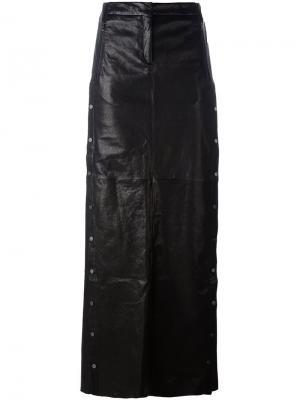 Длинная юбка А-образного силуэта с заклепками Ilaria Nistri. Цвет: чёрный