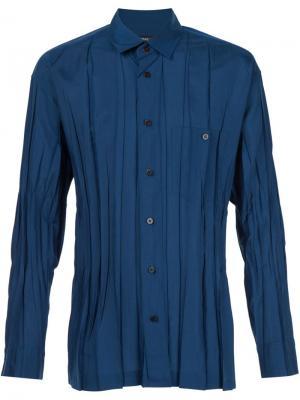 Рубашка с мятым эффектом Issey Miyake Men. Цвет: синий