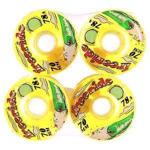 Колеса для скейтборда лонгборда  Freeride 7 Wheels Yellow/Green 78A 70 mm Sector 9. Цвет: желтый
