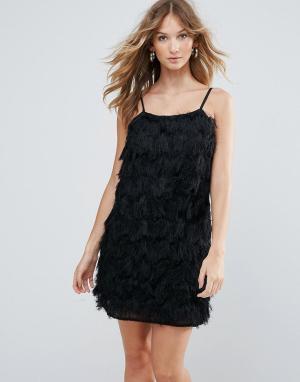 Deby Debo Коктейльное платье с бахромой Vegas. Цвет: черный