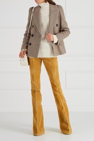 Бежевые брюки-клеш Gucci. Цвет: горчичный