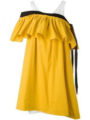 Платье с открытыми плечами и оборкой Isa Arfen. Цвет: жёлтый и оранжевый
