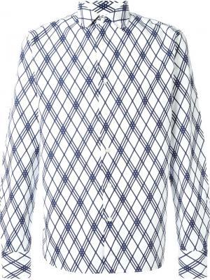 Рубашка в клетку Gabriele Pasini. Цвет: белый