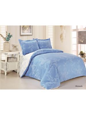 Комплект постельного белья семейный Jardin. Цвет: белый, голубой