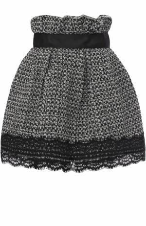 Буклированная мини-юбка с завышенной талией Faith Connexion. Цвет: черно-белый