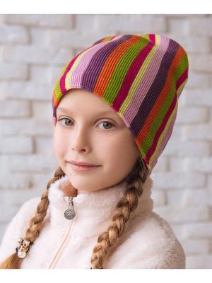 Шапка Logro-kids. Цвет: фиолетовый, фуксия, оранжевый, розовый, зеленый