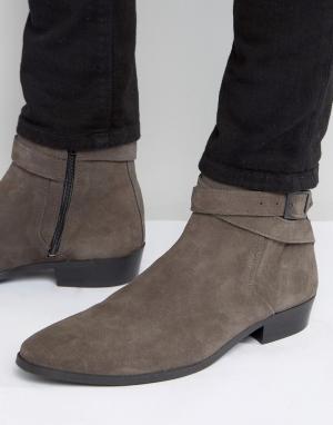 River Island Серые замшевые ботинки челси на каблуке. Цвет: серый