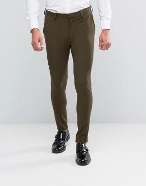 ASOS Зауженные брюки цвета хаки. Цвет: зеленый