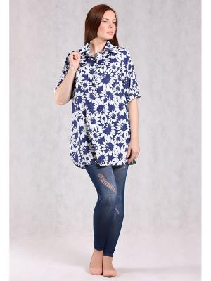 Блузка BERKANA. Цвет: темно-синий, белый