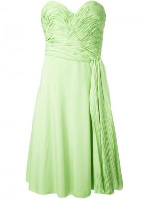 Платье с присборенной отделкой Ermanno Scervino. Цвет: зелёный