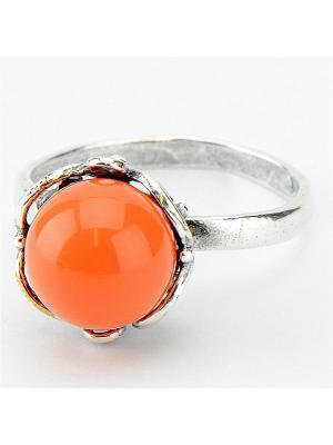 Кольцо Грация им. коралл Колечки. Цвет: оранжевый