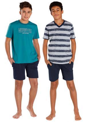 Пижама, 2 штуки LE JOGGER. Цвет: зелено-синий/темно-синий+серый меланжевый/темно-синий