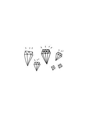 Временная переводная татуировка Бриллианты МнеТату. Цвет: черный
