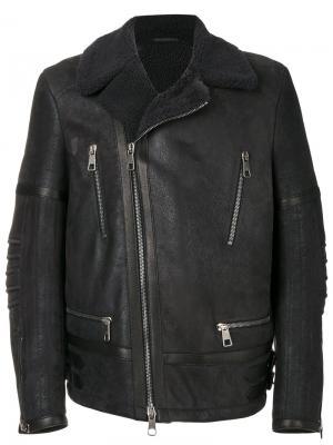 Leather aviator jacket Neil Barrett. Цвет: серый