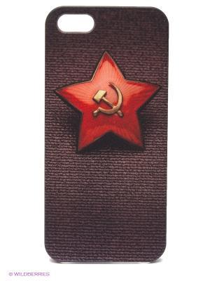 Чехол для IPhone 5 Звездочка СССР Mitya Veselkov. Цвет: красный, черный