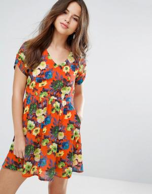 Louche Платье с цветочным принтом Dellana. Цвет: оранжевый