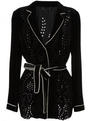 Пиджак с перфорированным узором Alberta Ferretti. Цвет: чёрный