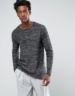 Troy Джемпер из крученой шерсти с круглым вырезом. Цвет: темно-синий