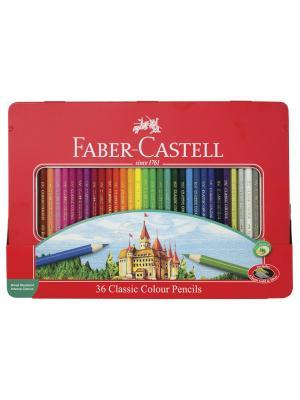 Цветные карандаши Замок, набор цветов, в подарочной мет. коробке, 36 шт. Faber-Castell. Цвет: красный