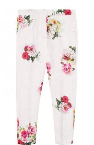Зауженные брюки с принтом Simonetta. Цвет: белый