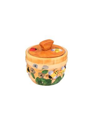 Горшочек для меда Пчелки на лугу Elan Gallery. Цвет: бежевый, желтый, зеленый