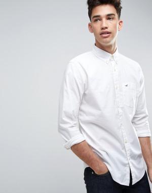 Hollister Белая эластичная рубашка зауженного кроя с логотипом. Цвет: белый
