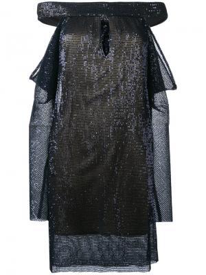 Платье с пайетками La Mania. Цвет: синий