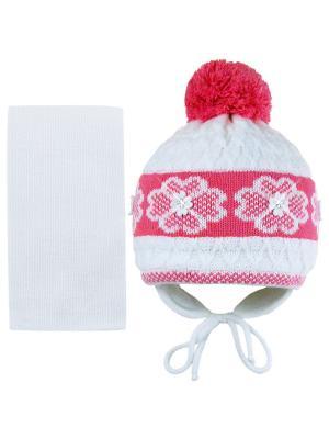 Шапка и шарф Grans. Цвет: белый, малиновый