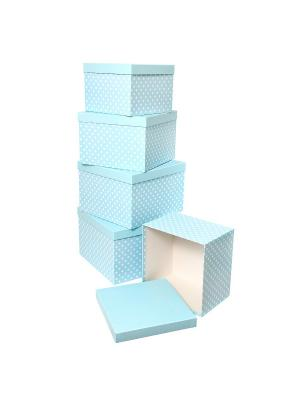 Набор из 5 картонных кубов 22х22х16 - 30х30х20см, Белый горошек на голубом VELD-CO. Цвет: голубой