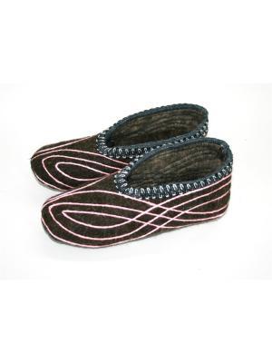 Тапочки-чуни из натурального войлока Тефия. Цвет: коричневый