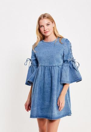 Платье джинсовое LOST INK. Цвет: голубой