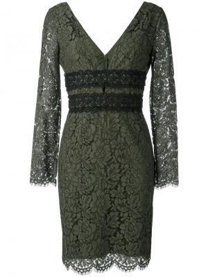Кружевное платье с глубоким V-образным вырезом Dvf Diane Von Furstenberg. Цвет: зелёный