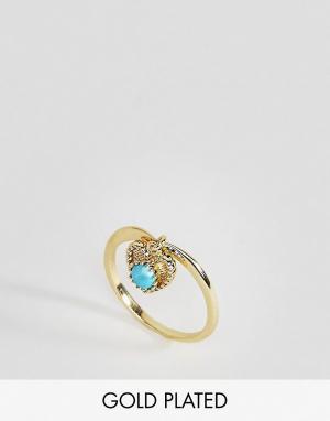 Rock 'N' Rose Кольцо с бирюзой. Цвет: золотой