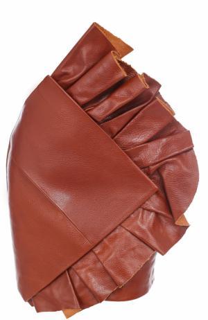 Кожаная мини-юбка с оборками Saint Laurent. Цвет: коричневый