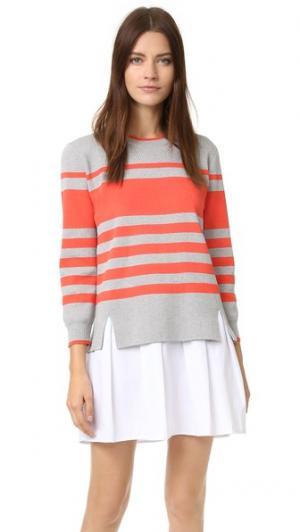 Платье-рубашка из трикотажа ENGLISH FACTORY. Цвет: серый меланж/белый